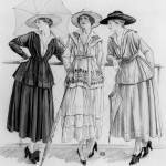 CHT233050 'Jersey costumes', illustration from 'Les Elegances Parisiennes' magazine, July 1916 (litho) (b/w photo) by French School, (20th century); Bibliotheque des Arts Decoratifs, Paris, France; (add.info.: designed by Coco Chanel (1883-1971);); Archives Charmet; French, it is possible that some works by this artist may be protected by third party rights in some territories